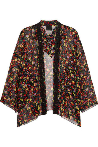 kimono lace kimono lace floral print black silk top