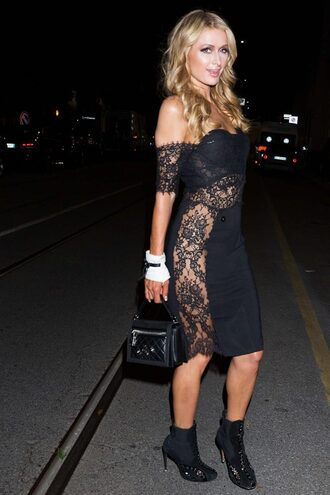 dress black dress lace dress paris hilton midi dress bustier bustier dress prom dress shoes off the shoulder dress black off shoulder dress off the shoulder bodycon dress black bag bag boots black boots high heels boots
