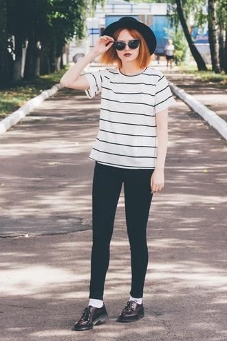 kristina magdalina blogger sunglasses striped top cat eye boyish