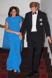dress,gown,cape dress,meghan markle,celebrity,maxi dress,blue dress