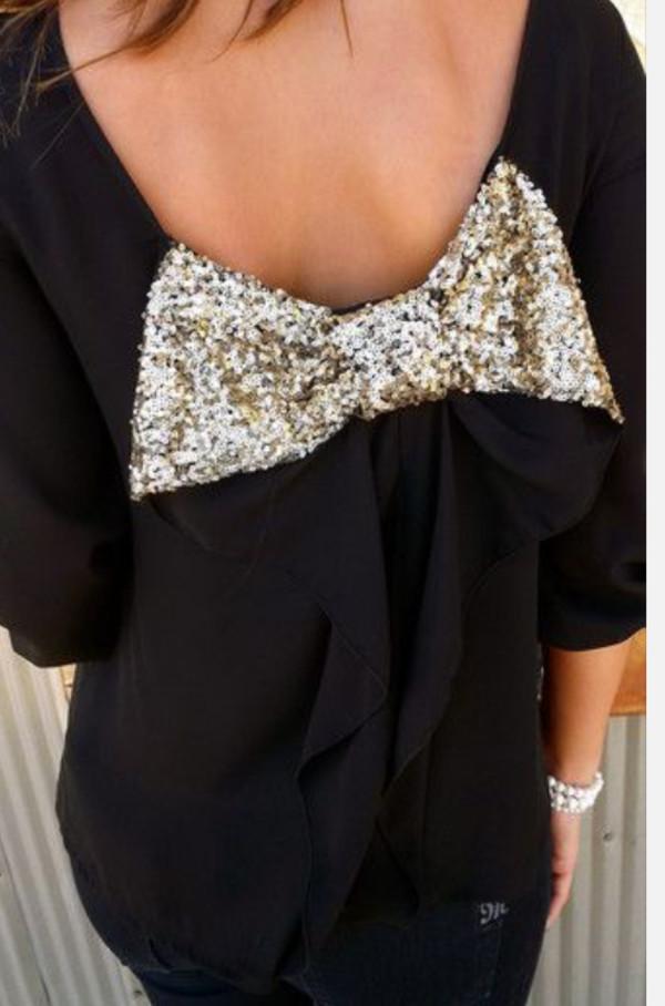 blouse bow sparkle glitter bow back socute