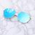 Luna Metal Rim Mirrored Lens Oversized Aviator Sunglasses in Blue Lens with Silver Frame