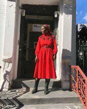 dress,midi dress,red dress,black boots,long sleeves
