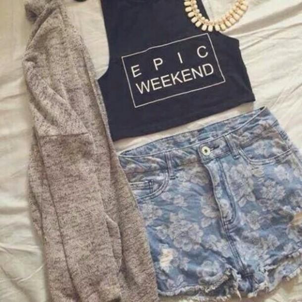 cardigan tank top shorts