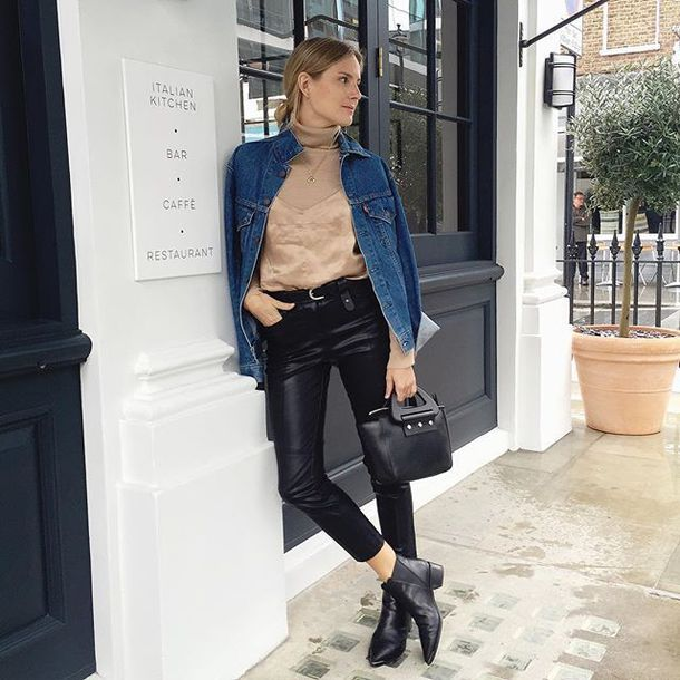 f5ab796091b0 jacket tumblr denim jacket blue jacket top nude top spaghetti strap  turtleneck pants black leather pants