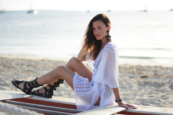 jewels boho hippie fashion vibe shoes swimwear white lace crochet dress festival blogger