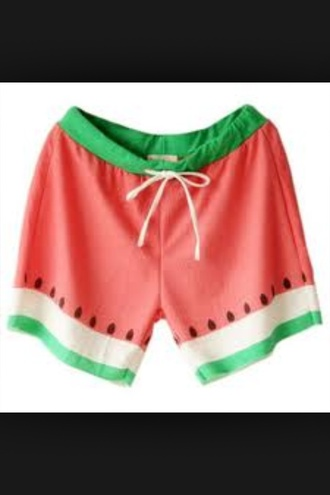 shorts pink green watermelon cool beatifull cute pinky blue funny food clothes love watermelon shorts