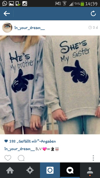 sweater disney shes my sister hes my brother sweatshirt