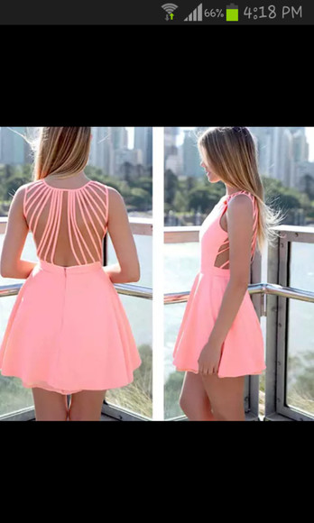 dress pink peach dress mint backless dress