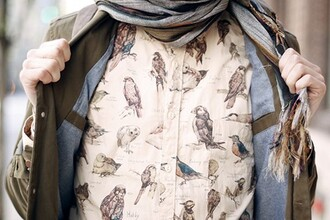 shirt pale shirt birds shirt birds pattern printed shirt clothes