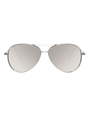 ASOS | ASOS Silver Aviator Sunglasses With Mirrored Lens at ASOS
