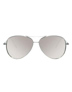 ASOS   ASOS Silver Aviator Sunglasses With Mirrored Lens at ASOS