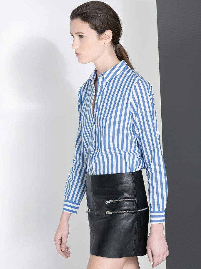 Blue White Vertical Stripe Lapel Long Sleeve Blouse - Sheinside.com