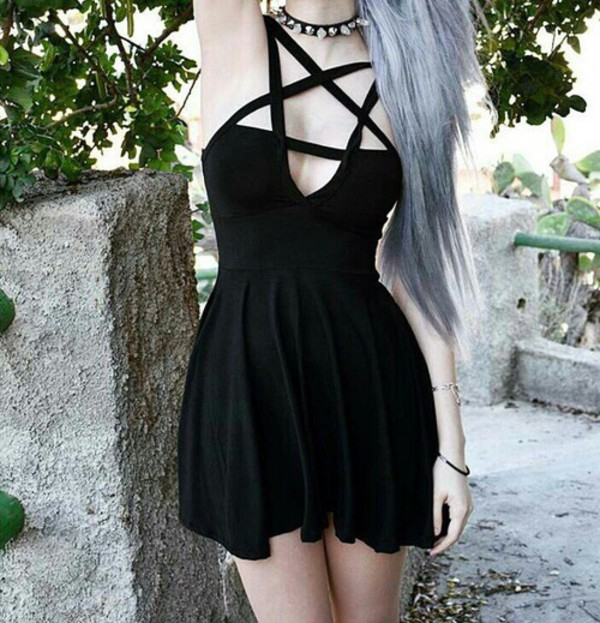 dress black dress black awsome short short dress sexy dress sexy punk emo