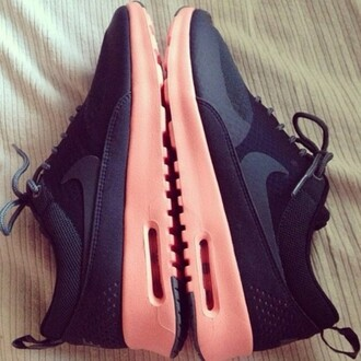 shoes black and orange nike nike nike air air max nike sneakers bright sneakers