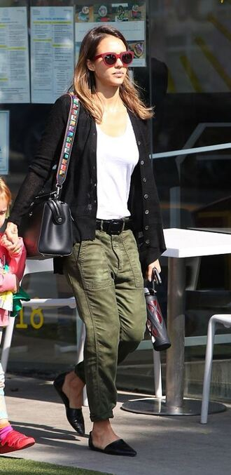 pants olive green jessica alba top flats ballet flats army green cardigan spring outfits