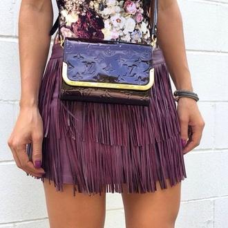 skirt purple short louis vuitton flowers texture louis vuitton bag fringes fringe skirt