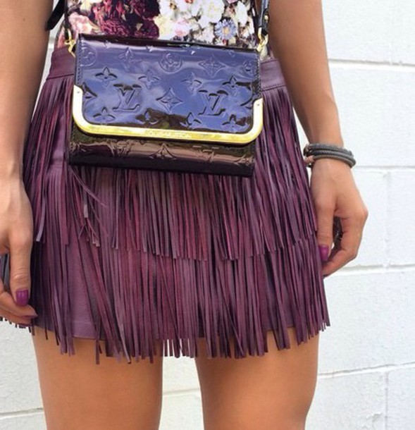skirt purple short louis vuitton flowers texture louis vuitton bag fringes fringe skirt