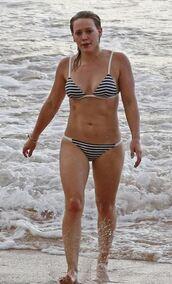 swimwear,hilary duff,bikini,bikini top,bikini bottoms,stripes,beach,summer