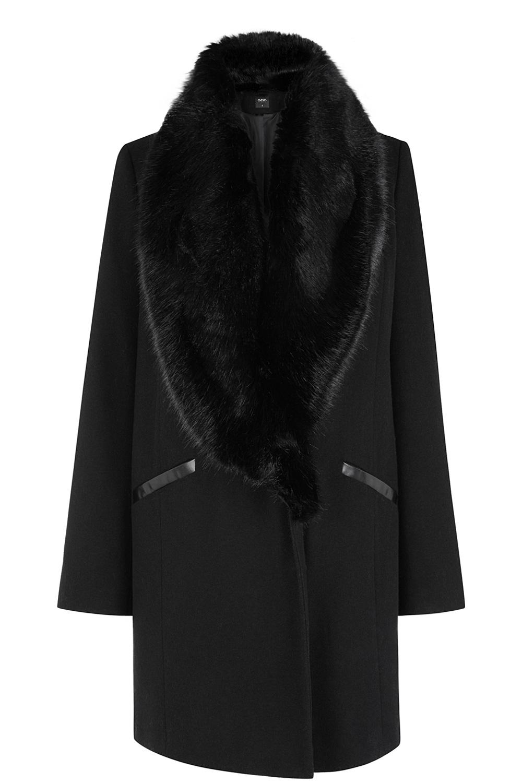 Black katy fur collar car coat