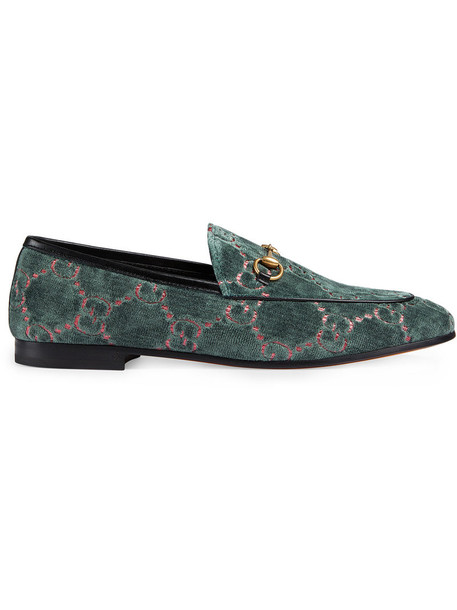 gucci metal women loafers leather blue velvet shoes