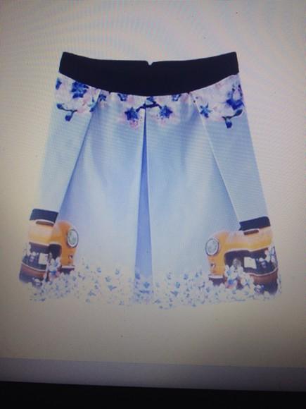print girly car print a line skirt aline skirt skirt pleated skirt floral shorts