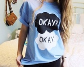 shirt,john green,the fault in our stars,hazel grace,augustus waters,love,blue shirt,black,white,fine,valentines day,t-shirt