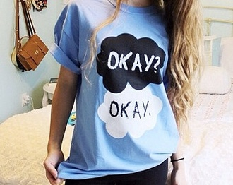 shirt black love white the fault in our stars okay okay john green okay? okay? okay. hazel grace augustus waters romance blue shirt fine t-shirt