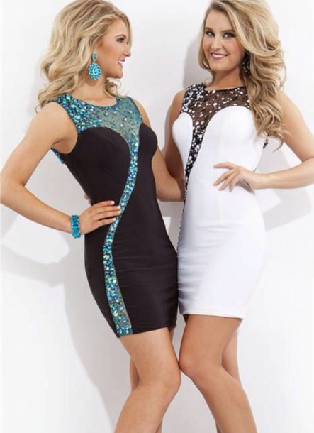 Dress: white, black, sequins, short, bodycon, white dress, black ...