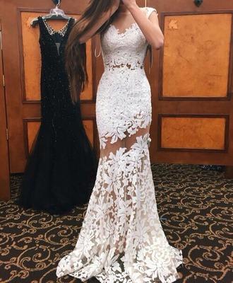 dress white dress lace dress long dress white lace dress prom dress gown white prom chic classy flawless flowers