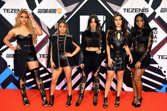 dress leather leather dress fifth harmony camila cabello lauren jauregui ally brooke normani kordei hamilton normani hamilton dinah hansen dinah jane hansen lace dress asymmetrical dress sandals booties all black everything