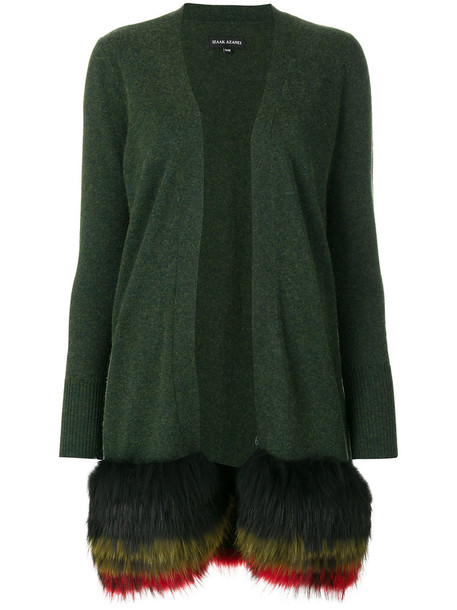 Izaak Azanei cardigan long cardigan cardigan long fur women green sweater