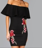 dress,girly,black dress,black,embroidered,bodycon dress,off the shoulder,girl,floral