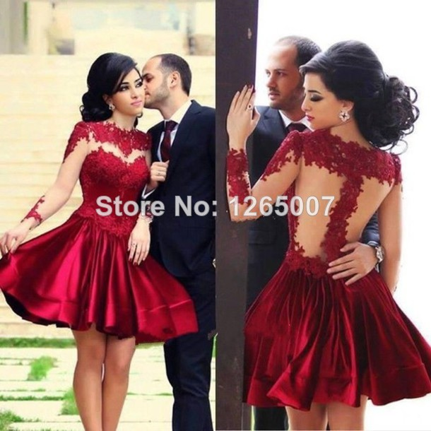Aliexpress.com : Buy Bateau Neck Long Sleeves Red Lace Pattern Pattern Designer Mini Short Party Dresses Gowns Lace from Reliable dress hawaii suppliers on SFBridal