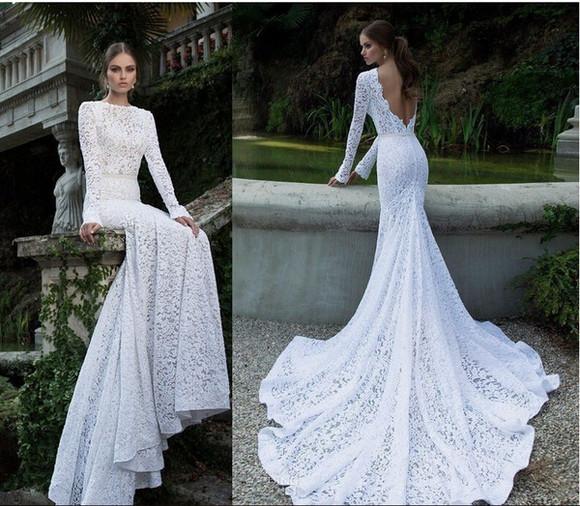 long sleeves mermaid wedding dresses lace wedding dresses vestido de renda