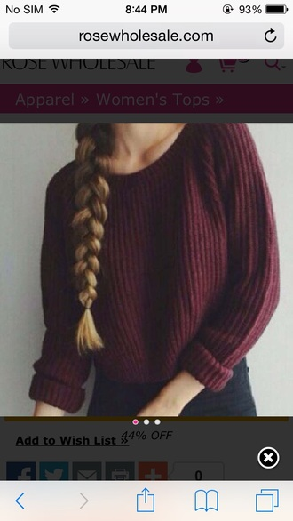 sweater sweatshirt winter sweater knitted sweater style warm girl vintage grunge sweater soft grunge 90s grunge burgundy burgundy sweater braid fall sweater fall colors
