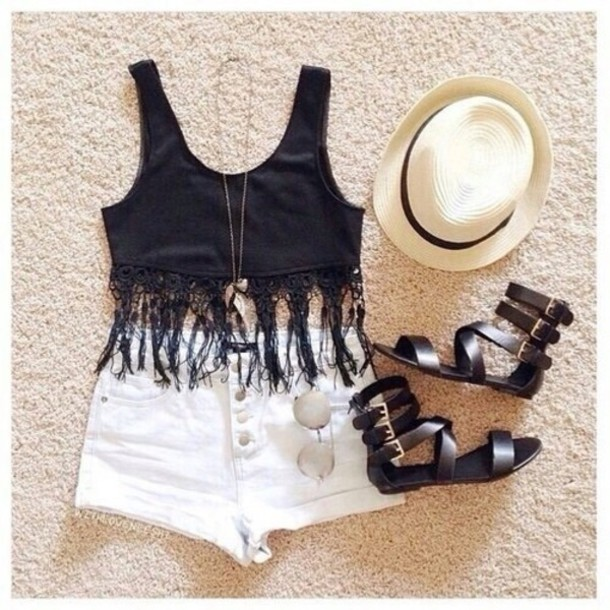 top shorts hat jewels