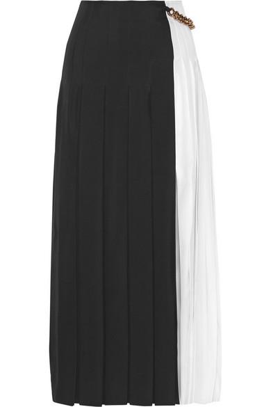 Pleated gazar maxi skirt