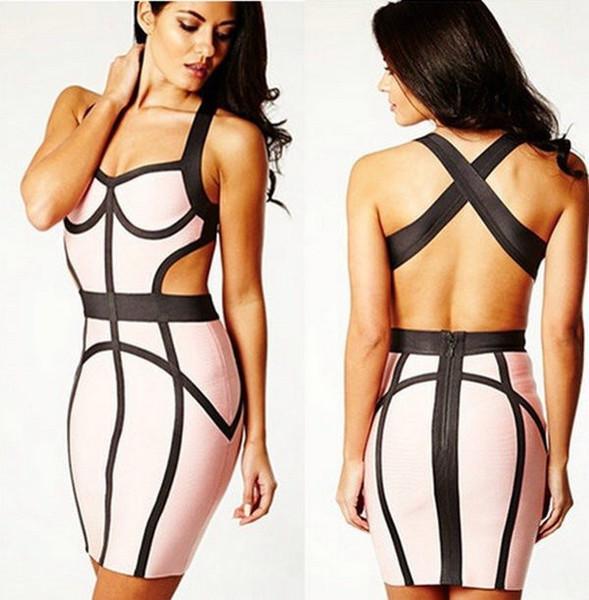MYA Pink Grey Bandage Dress – Glamzelle