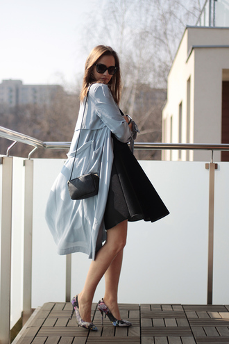 so in carmel blogger duster coat light blue skater skirt black skirt stilettos