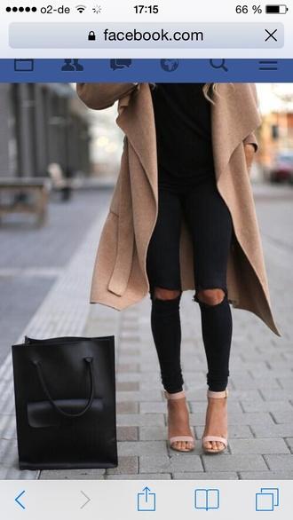 coat beige winter coat winter jacket fashion classy style jacket jeans bag shoes pants