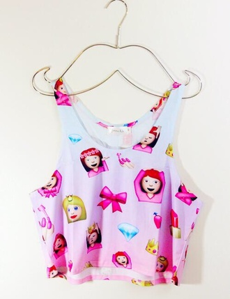 top shirt t-shirt blouse emoji crop top home accessory white pink emoji print bow girl tank top