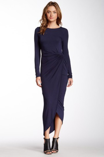dress wrap dress ruching high low dress
