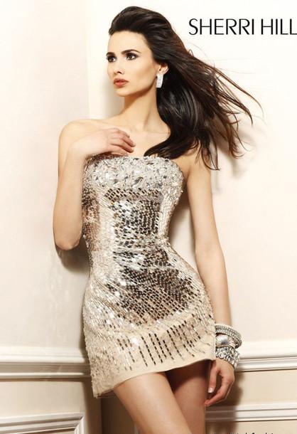 dress strapless sequin tight dress prom dress sherri hill sherri hill