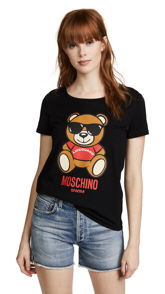 graphic tee bear black top