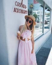 top,hat,tumblr,gingham,co ord,matching set,pink top,crop tops,gingham skirt,sunglasses,sun hat,skirt