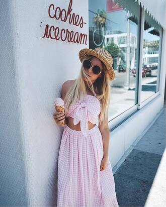 top hat tumblr gingham co ord matching set pink top crop tops gingham skirt sunglasses sun hat skirt