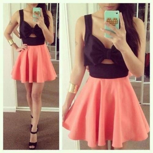 Nasty Gal Inspired Black and Neon Coral Orange Bow Cutout Skater Dress S | eBay