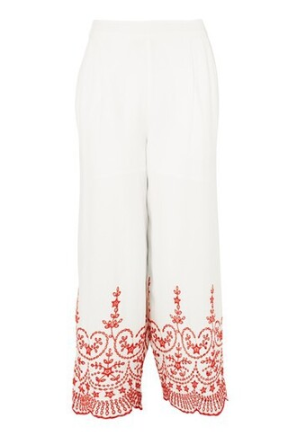 embroidered white pants