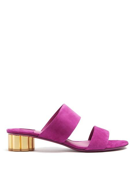 Salvatore Ferragamo heel sandals suede purple shoes